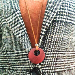 leather wood pendant NZ - Double wood Circle pendants necklaces vintage long sweater chain simple wild leather cord men women Handmade carving jewelry 15pcs