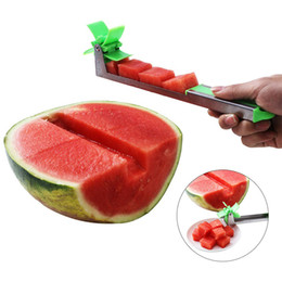 GadGet knife online shopping - Watermelon Slicer Cutter Stainless Steel Knife Corer Tongs Windmill Watermelon Cutting Fruit Vegetable Tools Kitchen Gadgets MMA1739