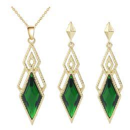 $enCountryForm.capitalKeyWord Australia - Diamond-shaped large gem retro crystal pendant necklace jewelry sets hot sales cheap price jewelry sets for women best gift 7193