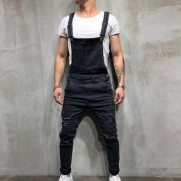 $enCountryForm.capitalKeyWord Australia - Oeak Men's Fashion Ripped Denim Jumpsuits New Solid Color Slim Fit Street Distressed Suspender Casual Jeans Pants
