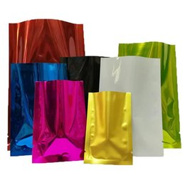 tea bag pouches UK - Coffee Tea Cosmetic Sample Colored Heat Seal Aluminum foil bag Mylar Foil bag Smell Proof Pouch open Top