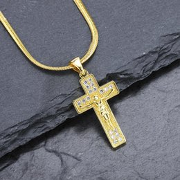 jesus cross chain silver NZ - High Quality Fashion Jewelry Men Women Charm Jesus Gold Silver Cross Pendant Necklace Rhinestone Crystal Design 50cm Long Chain For Men