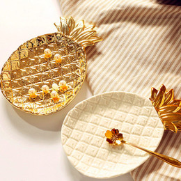 Gold platinG home online shopping - Creative Gold Pineapple Ceramic Storage Tray Golden Pineapple Jewelry Pallet Food Pallet Dry Fruit Plate Home Decoration Plate