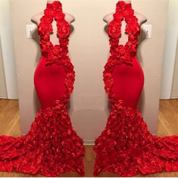 Wholesale Red New Design Mermaid Prom Dresses Appliques High Neck Sexy Formal Evening Dresses Sweep Train Satin Luxury Fashion Cocktail Party Gowns