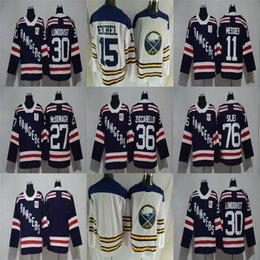 2018 Ad Winter Classic Rangers 30 Henrik Lundqvist 27 Ryan McDonagh 36 Mats  Zuccarello Sabres 15 Jack Eichel Blank Blue White Hockey Jerseys ded177d1f
