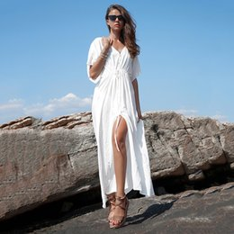 $enCountryForm.capitalKeyWord Australia - Fasion Summer Women Loose Long Solid Dress V-neck Ankle-lengh Maxi Batwing Half Sleeve Straight Dresses Female Beach