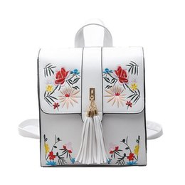 8dac06037496 2019 New Cute Backpack For Teen Girl Back Pack Women s Designer Backpacks  High Quality Pu Leather Embroidered Flowers School Bag