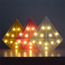 $enCountryForm.capitalKeyWord Australia - Four Colors Diamond Shape LED Decoration Lamp Eco-friendly Valentine's Day Small Bedside Night Light Bedroom LED Night Lamp Festival Gifts