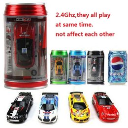 micro car racing NZ - 24 Colors Hot Sales 20Km h Coke Can Mini RC Car Radio Remote Control Micro Racing Car 3 Frequencies Toy For Kids Gifts RC Models