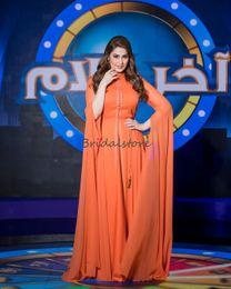 High Neck Ivory Chiffon Prom Dress Australia - Elegant Orange Abaya Caftan dresses evening wear High Neck Floor Length Chiffon Dubai Prom Evening Dresses 2019 Saudi Arabia Celebrity Dress