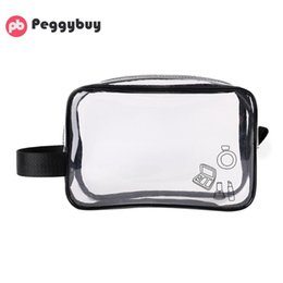 solid makeup bags NZ - Transparent Wrist Makeup Bags Waterproof Travel Cosmetics Storage Wash Bags