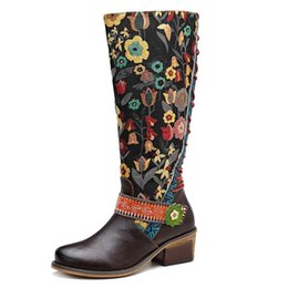 $enCountryForm.capitalKeyWord Australia - Womens Vintage Leather Floral Round Toe Knee High Riding Boots Ethic Shoes Lace Up Back Shoes S118