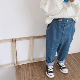 $enCountryForm.capitalKeyWord Australia - Autumn Newest Fashion Designs INS Kids Boys Jeans Trousers Fashion Front Double Buttons Pockets Pants Autumn Children Girls Denim Pants