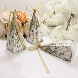 $enCountryForm.capitalKeyWord Australia - 50pcs lot Chocolate Candy Box Wedding Favors for Guests Paper Box with Ribbons Baby Shower Party Decoration Gift Box Packaging