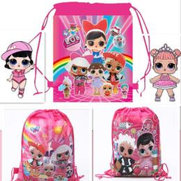$enCountryForm.capitalKeyWord Australia - Cartoon Storage Bags For Birthday Party Favor Girls LOL Doll Gift Bag Drawstring Backpack Pouch Gift Bags Swimming Beach Bag