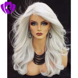 Discount grey african lace - High Temperature Fiber Grey Hair Wigs Long Natural Body Wave Gray White Silver Synthetic Lace Front Wig for Women Africa