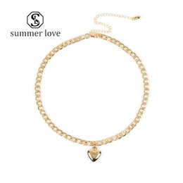 quality necklace locks NZ - New Fashion Cute Heart Choker Necklac for Women Gold Silver Chain Lock Necklace High Quality Charm Love Pendant Accessories Jewelry Gift-Y