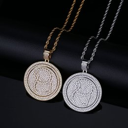white gold disc pendant UK - Men Hiphop Round Rotating Rapper Pendant Double Layers Paved Full Cubic Zirconia Gold Plated Disc Necklace