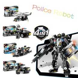 Toys Bricks Australia - 4pcs lot Compatible LegoINGs SWAT City Police Robot Building Blocks Sets Ship Helicopter Vehicle Bricks Toys For Children