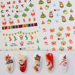 Christmas Bell Stickers Australia - 12PCS Christmas Snowman Tree Boots Bells Deer Water Transfer Nail Art Sticker Decal Slider Manicure Wraps Tool Tips