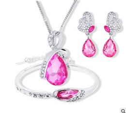 Großhandel Art und Weise heiße verkaufende niedrige Preisqualität 2set / lots gesetzte Halskettenohrringe 10rtr der Brauthochzeitsdiamantkristallfrauen