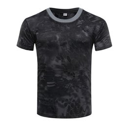 Wholesale compression t shirt online – design Fashion LeadSummer Camouflage T Shirt Quick Dry Breathable Tights Army Tactical T shirt Mens Compression T Shirt Fitness Running Outdoor