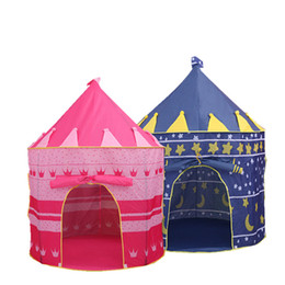 prince cartoons NZ - 48PCS Kids Play Tents Teepee Prince and Princess Palace Castle Baby Toy House Tent Game House