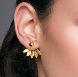 Simple Gold Designs 18k Australia - Simple Design Minimalist Jewelry Classical Gold Silver Plant Stud Earrings Leaves Earrings Women Indian Accessories Wholesale