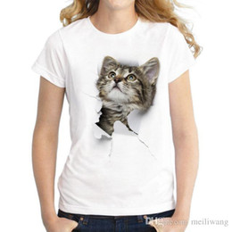 Cheap Clothing Wholesalers Australia - Charmed 3D cat Print Casual Harajuku Women T-Shirt Summer Short sleeve Casual Round neck Cheap Clothes China Top Mode Femme
