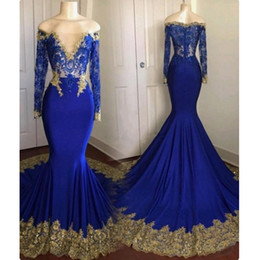 Wholesale Gorgeous Navy Blue Bateau Mermaid Evening Dress Long Sleeve Gold Appliques Elastic Satin Sweep Train Formal Party Wear Abendkleider
