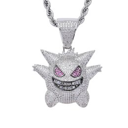 Wholesale 2019 New Full Rhinestone Gengar Pendant Necklace Hip Hop Bling Ice Out Jewelry With Free Chain For Men Gift