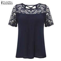 Lace crochet bLouses online shopping - Women Blouses Hot Elegant Lace Crochet Splice Shirts O Neck Short Sleeve Hollow Out Casual Loose Blusas Sexy Tops yy