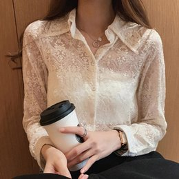 beige button down blouse 2020 - vestidos verao Fashion robe femme Women Casual Long Sleeve Solid Turn-Down Tops Ladies Lace Button Shirts blouse for wom
