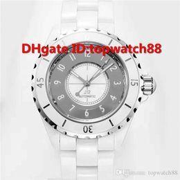 $enCountryForm.capitalKeyWord Australia - KOR New Luxury Watch Swiss Automatic 28800vph Date Display Sapphire Crystal Full White Ceramic Folding Buckle Unisex Watch