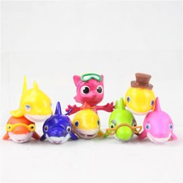 Wholesale 8pcs The Shark Family Baby Shark Clown fish Microlandscape Cake Decoration PVC Figure Toy Best Kids Birthday Gifts