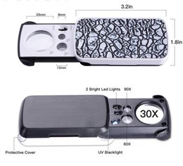 DHL LED beleuchteter Slide Out Taschenvergrößerungsglas - 30X-60X und 90X Multi-Power Kleine tragbare Lupe Lupe mit UV Black Light nd im Angebot
