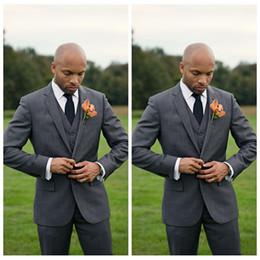 Gray Wool Suit Australia - Elegant 2020 Gray Custom Groom Men Suits Slim Fit Groomsmen Tuxedos Three Pieces Two Buttons Business Formal Suit (Jacket+Pants+Vest+Tie)