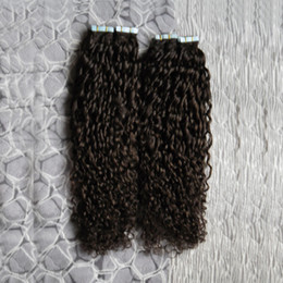 $enCountryForm.capitalKeyWord NZ - Kinky Curly tape In Human Hair Extensions 200g Tape In Extensions 80pcs Brazilian PU Hair Skin Weft Hair