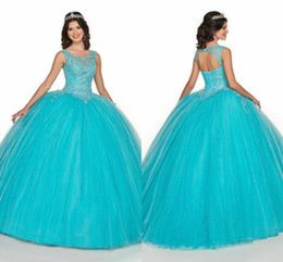 AquA tulle online shopping - 2020 New Designer Aqua Blue Ball Gown Prom Sweet Dresses Lace Beaded Sequins Backless Corset Back Scoop Cap Sleeve Quinceanera Vestidos