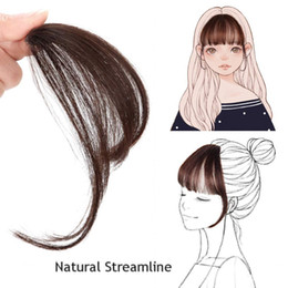 Clip Hair Black Australia - Natural Real Human Hair Flat Bangs Fringe Hand Tied MiNi Hair Bangs Fashion Clip-in Hair Extension (Flat Bangs with Temples,Natural Black)