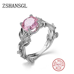 Wholesale Sterling Silver Bridal Rings Australia - Luxury Big Blue Pink Oval CZ Crystal Rings for Women Bridal Wedding Party 925 Sterling Silver Charm Ring Fashion Jewelry anillos
