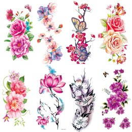 tattoo designs for legs NZ - 2PCS lot Flower Decal Tattoo Stickers Fake Tattoos for Woman Girls DIY Arm Legs Body Art Tattoo Design Temporary Stickers