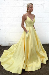 $enCountryForm.capitalKeyWord Australia - Simple and Cute Light Yellow A line Prom Dresses Evening Gowns with Pockets Beaded Crystal V neck Straps party Formal Pageant Dress Cheap