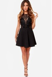 Fashion Trends Lace Dress NZ - Fashion trend 2019 Summer European and American new product lace splice sexy open-back dress sleeveless skirt women's skirt Pengpeng skirt