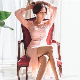 $enCountryForm.capitalKeyWord NZ - Female Patchwork Ruffles Pink Dresses Spring Slim Button Bodycon Dress Women Long Sleeve Split Chiffon Dress