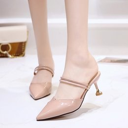 Two Pairs Shoes Australia - 2019 The New Korean Version Of The Summer And The Fine With Baotou Fashion Temperament Wear A Pair Of Shoes Two Wear Cold Drag
