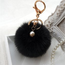 $enCountryForm.capitalKeyWord Australia - Women Soft Plush Ball Key Chain Cute Cream Black Pompom Artificial Fur Keychain Women Car Bag Key Ring