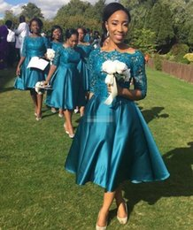 teal laces Australia - Tea Length Lace Bridesmaid Dresses with Hal Sleeves For Weddings Teal Satin Plus Size Formal Gowns Custom Made Prom Evening Dress F1698