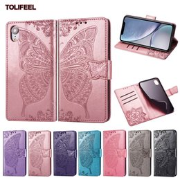 Iphone W NZ - Magnetic Wallet Flip Case For iPhone Xs Max XR X 7 8 Plus Back Phone Cover Embossed Butterfly W  Card Packet Cases