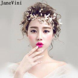 Discount gold crown decorations - JaneVini Gold Leaf Bride Headbands Pearl Hair Accessories Bridal Princess Crown Vintage Metal Hairbands Wedding Hair Dec
